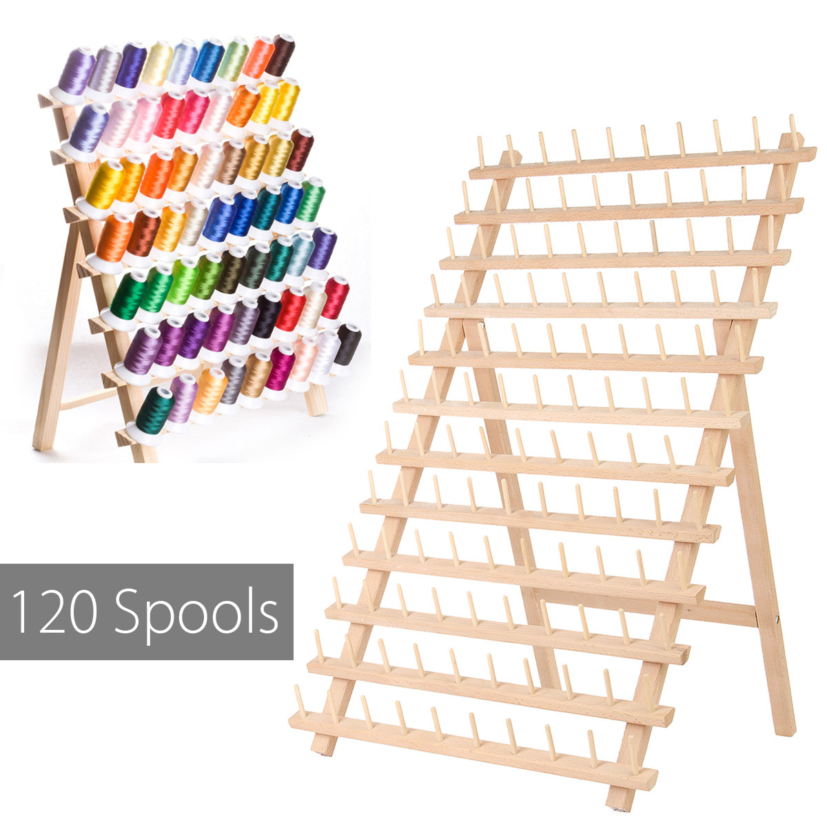 Thread Rack 120 Spools Wood Folded Thread Rack Sewing Embroidery Stand Holder Organizer