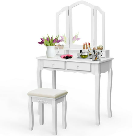 Costway Makeup Table Stool Set Tri Folding Mirror Vanity White