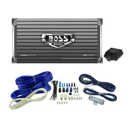 New Boss Audio Armor Ar3000d 3000W Car Amplifier Amp   4 Gauge Amp Install Kit
