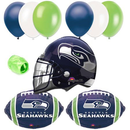 Seattle Seahawks Nfl Football Helmet Balloon Super Bowl Party 10Pc Pack