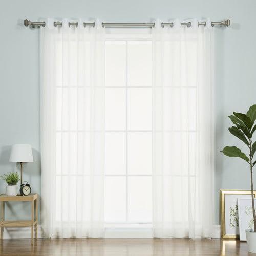 Best Home Fashion, Inc. Ashley Faux Linen Sheer Curtain Panels (Set of 2)