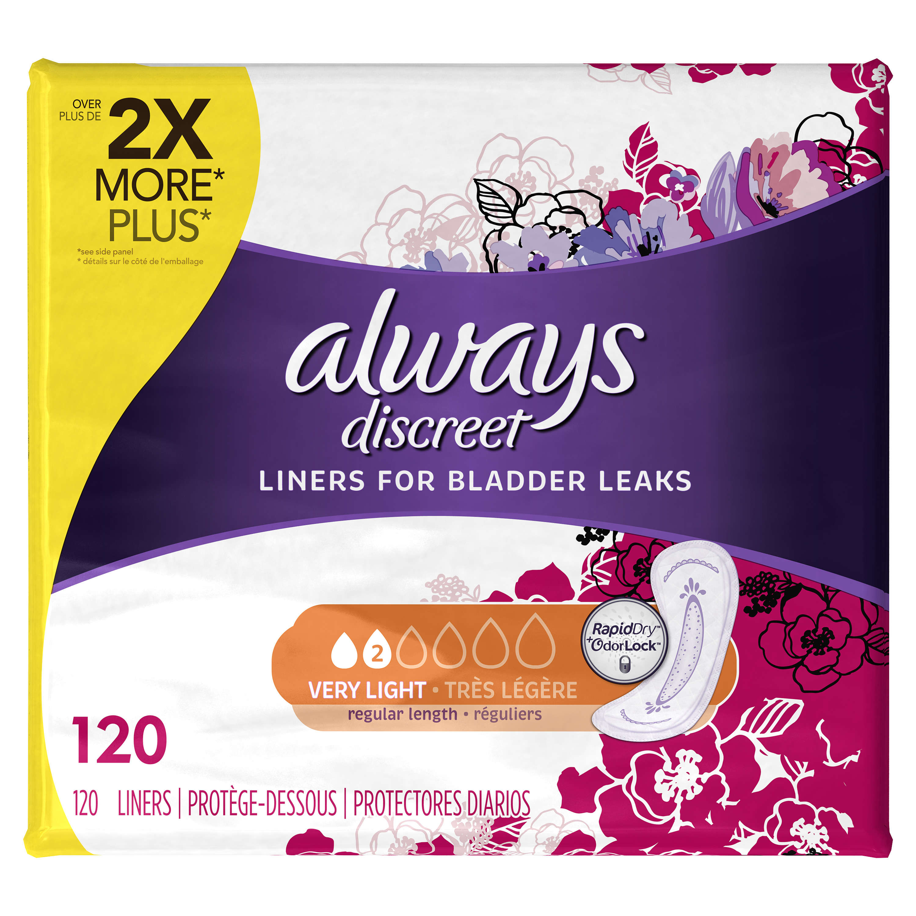 Always Discreet Incontinence Liners, Very Light, Regular Length, 120 Ct