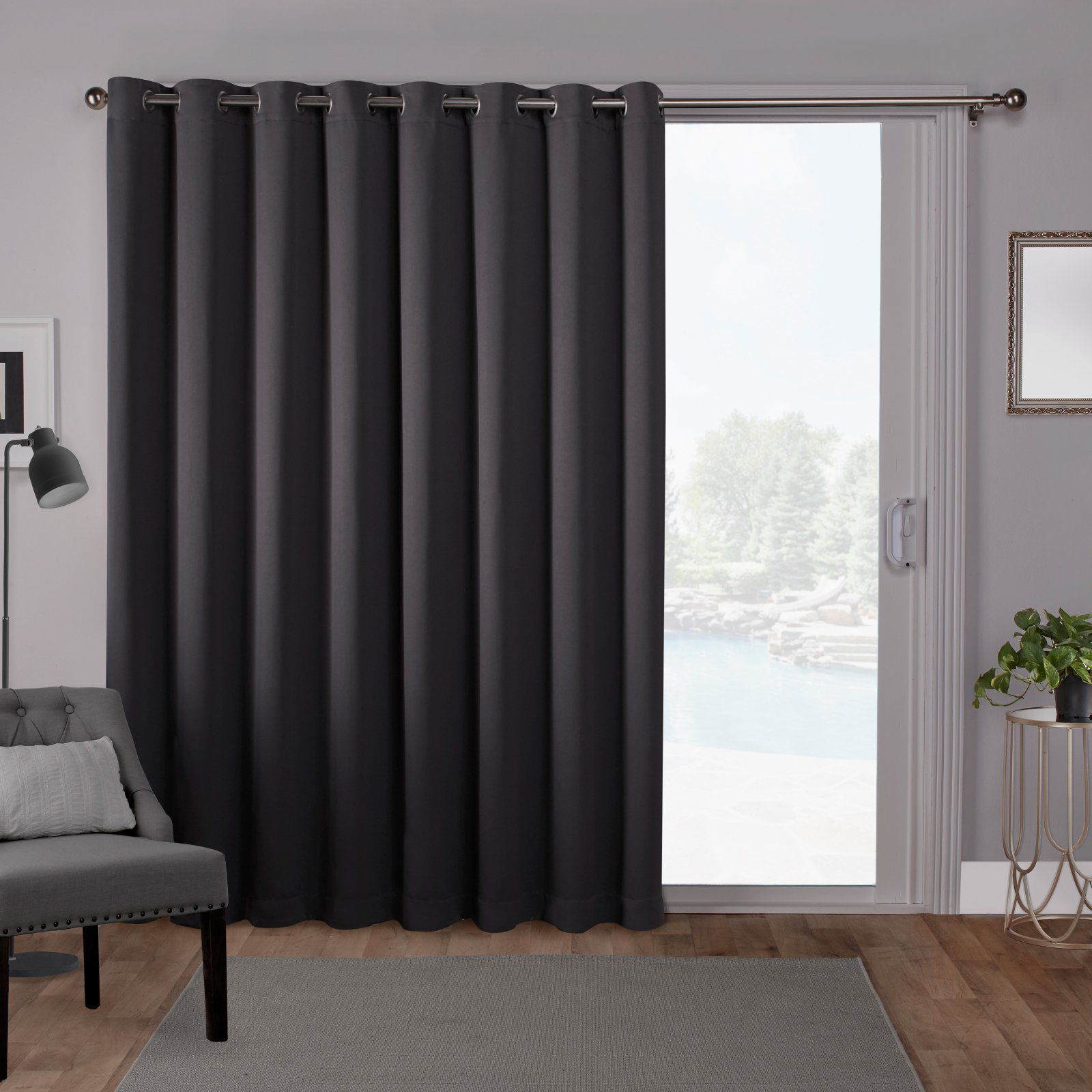 Exclusive Home Sateen Blackout Wide Patio Curtain Panel with Grommet Top