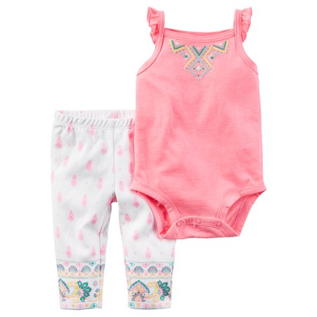 Carters Infant Girls Pink Geometric Outfit Tank Top Bodysuit & Pants Set](Carters Halloween Outfits)