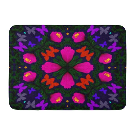 GODPOK Abstract Colored Symmetrical of Fantasy Flowers and Butterflies on Dark Blue Fancy with Bright Pink Rug Doormat Bath Mat 23.6x15.7 inch](Navy Blue And Pink)