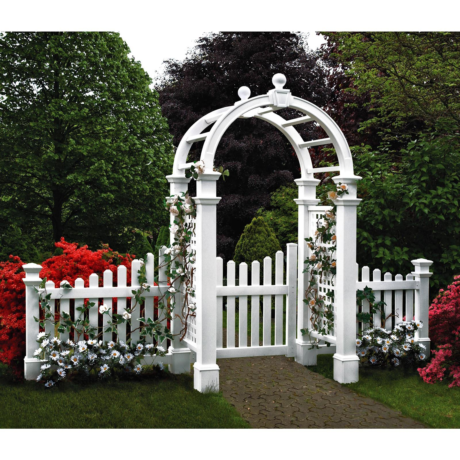 New England Arbors Two 4-ft. Cottage Picket Vinyl Arbor Wings by New England Arbors