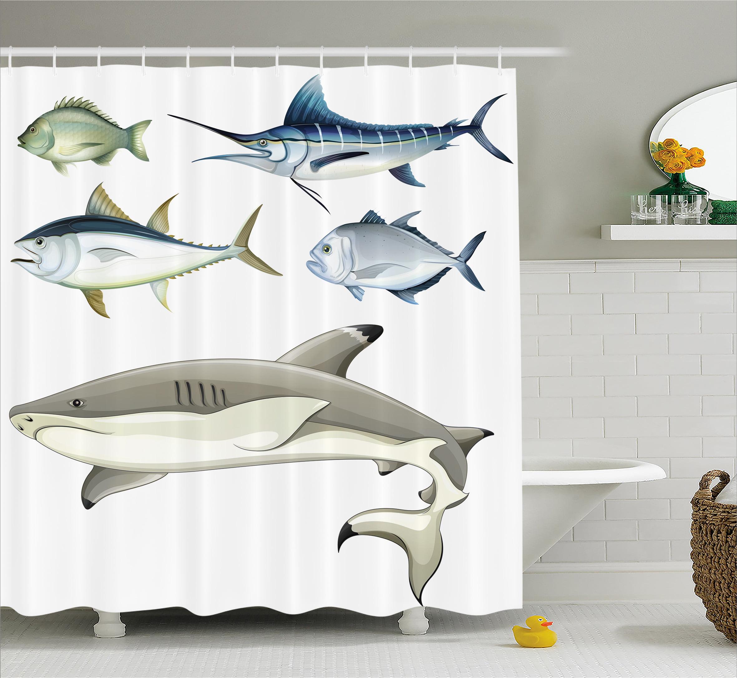 Ocean Animal Decor Shower Curtain, Various Fish Predators...