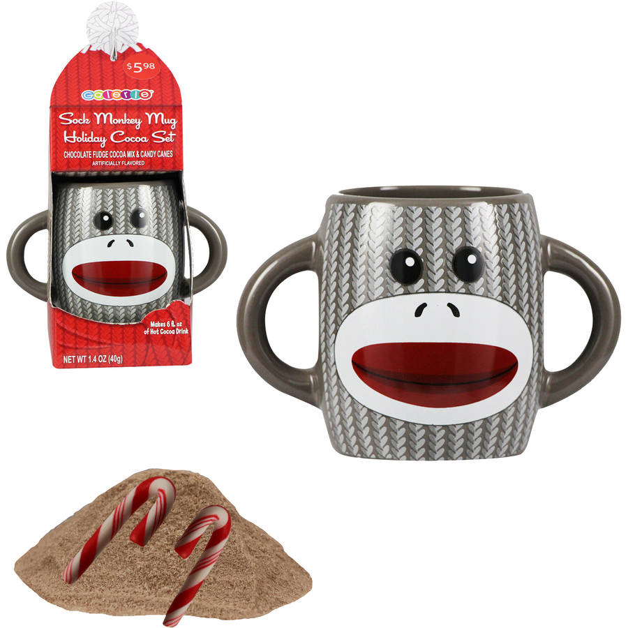 Galerie Sock Monkey Holiday Cocoa Set, Gray Holiday Gift, 4 pc
