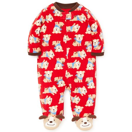 Baby Pajamas Winter Fleece Sleepers Footed Blanket Sleeper Footie Red Puppy Dog 18 Month