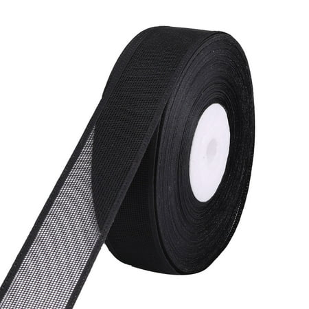 Holiday Polyester DIY Gift Decor Hair Band Ribbon Roll Black 20 Yards Length