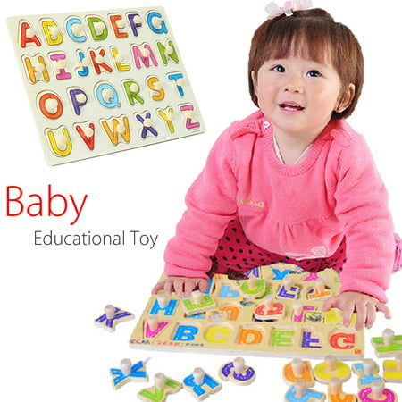 Wooden Alphabet ABC Peg Jigsaw Puzzle Toy Children Kids Baby Toddlers Early Learning Educational Plate Gift (Educational Toys For Preschoolers)