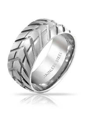 Mens Mechanic Car Racer Tire Tread Band Ring For Men For Bikers Matte Brushed Silver Tone Stainless Steel 8MM