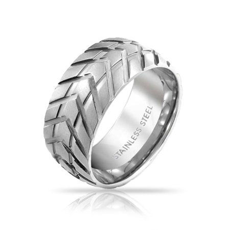 Mens Mechanic Car Racer Tire Tread Band Ring For Men For Bikers Matte Brushed Silver Tone Stainless Steel