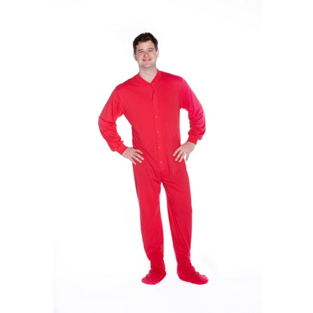 big feet pjs. red cotton jersey knit adult footed sleeper -