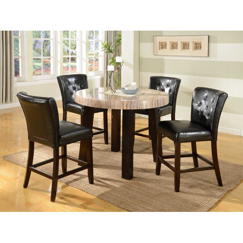 Roundhill Furniture Zanic 5 Piece Round Faux Marble Counter Height Dining Table Set