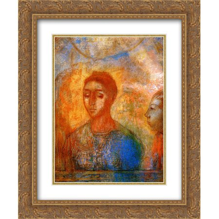 Odilon Redon 2x Matted 20x24 Gold Ornate Framed Art Print 'Portrait of Madame Redon with