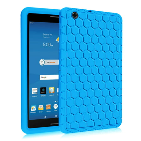 (Fintie AT&T Trek 2 HD Silicone Case - [Anti Slip] [Kids Friendly] Light Weight Shock Proof Protective Cover, Blue)