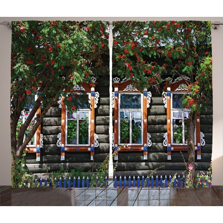Rustic Curtains 2 Panels Set, Wooden House with Shutter at Windows Fence Flower Trees Blooms Dream Home Art , Living Room Bedroom Decor, Red Green Brown, by Ambesonne