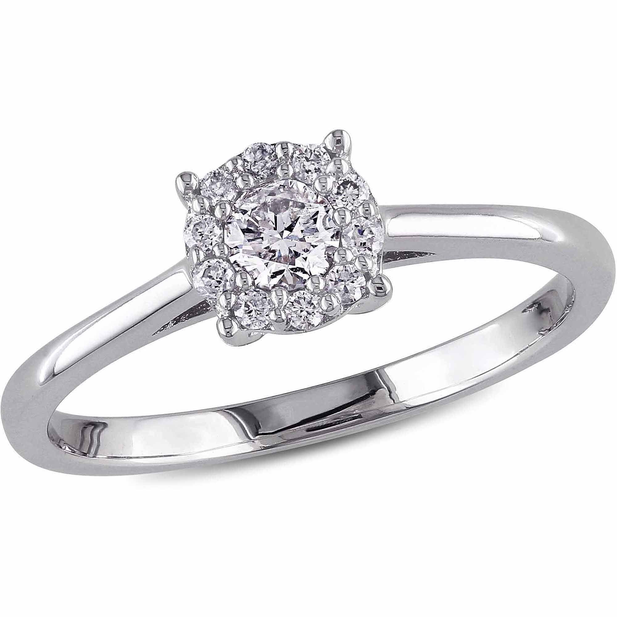 Miabella 1 4 Carat Diamond 10kt White Gold Halo Engagement Ring by Delmar Manufacturing LLC