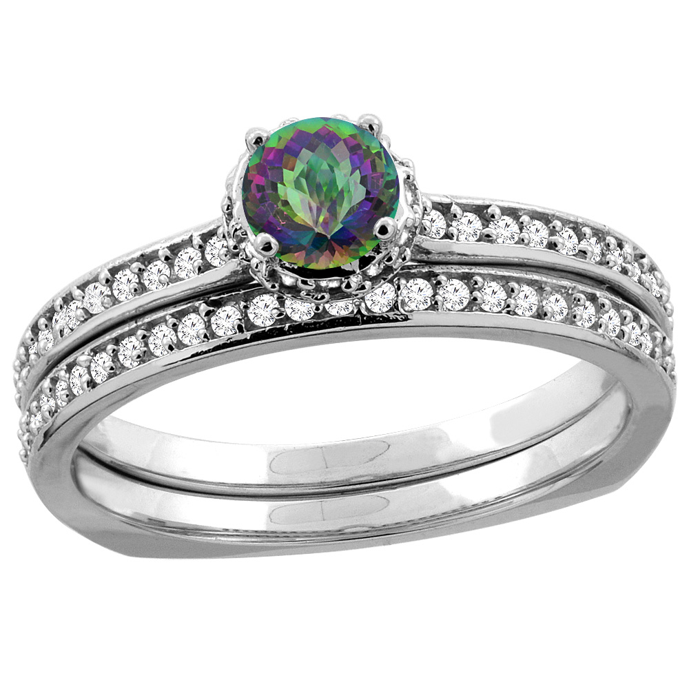 10K White Gold Diamond Natural Mystic Topaz 2-pc Bridal Ring Set Round 4mm, sizes 5 10 by WorldJewels