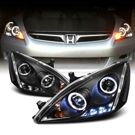 Fits 2003-2007 Honda Accord Black Bezel Dual Halo LED Projector Headlights