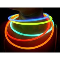 "Glow Sticks Bulk Wholesale Necklaces, 100 22"" Glow Stick Necklaces Assorted +100 FREE Glow Bracelets BONUS, Glow With Us Brand"