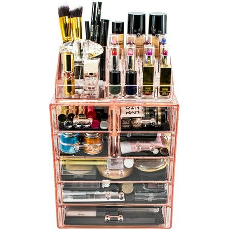 (Makeup Storage Organizer, Medium, Set 1, Pink)