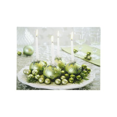 LED Lighted Sparkling Ornament Centerpiece Christmas Canvas Wall Art 11.75