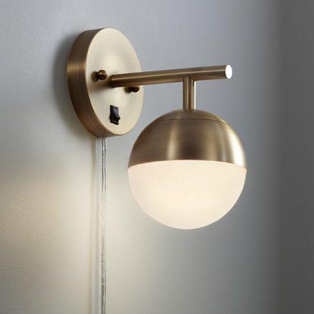 360 Lighting Luna Antique Brass Globe Pin-Up Wall Lamp Antique Brass Island Light