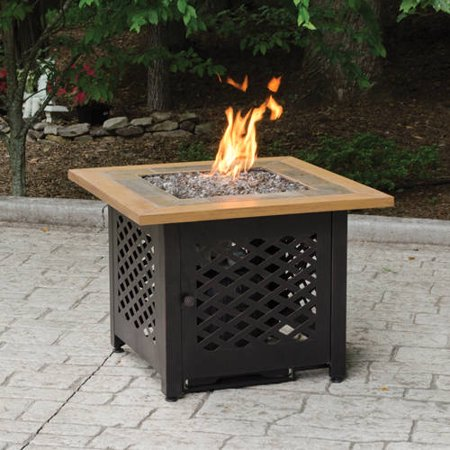 Square lp gas fire pit bowl with slate and faux wood for Table exterieur walmart