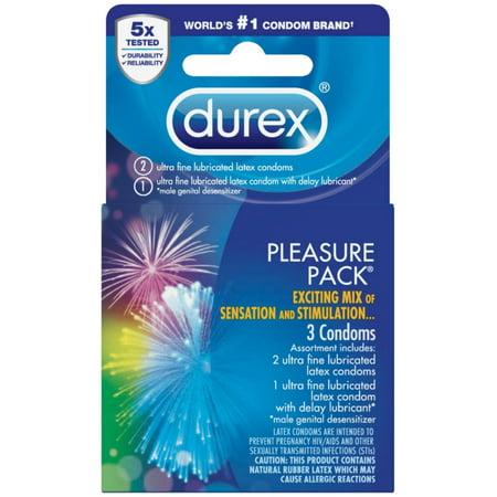 - Durex Pleasure Pack, Assorted Lubricated Premium Condoms, 3 ct