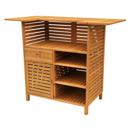 Leisure Season Outdoor Bar with Storage, Medium Brown ()