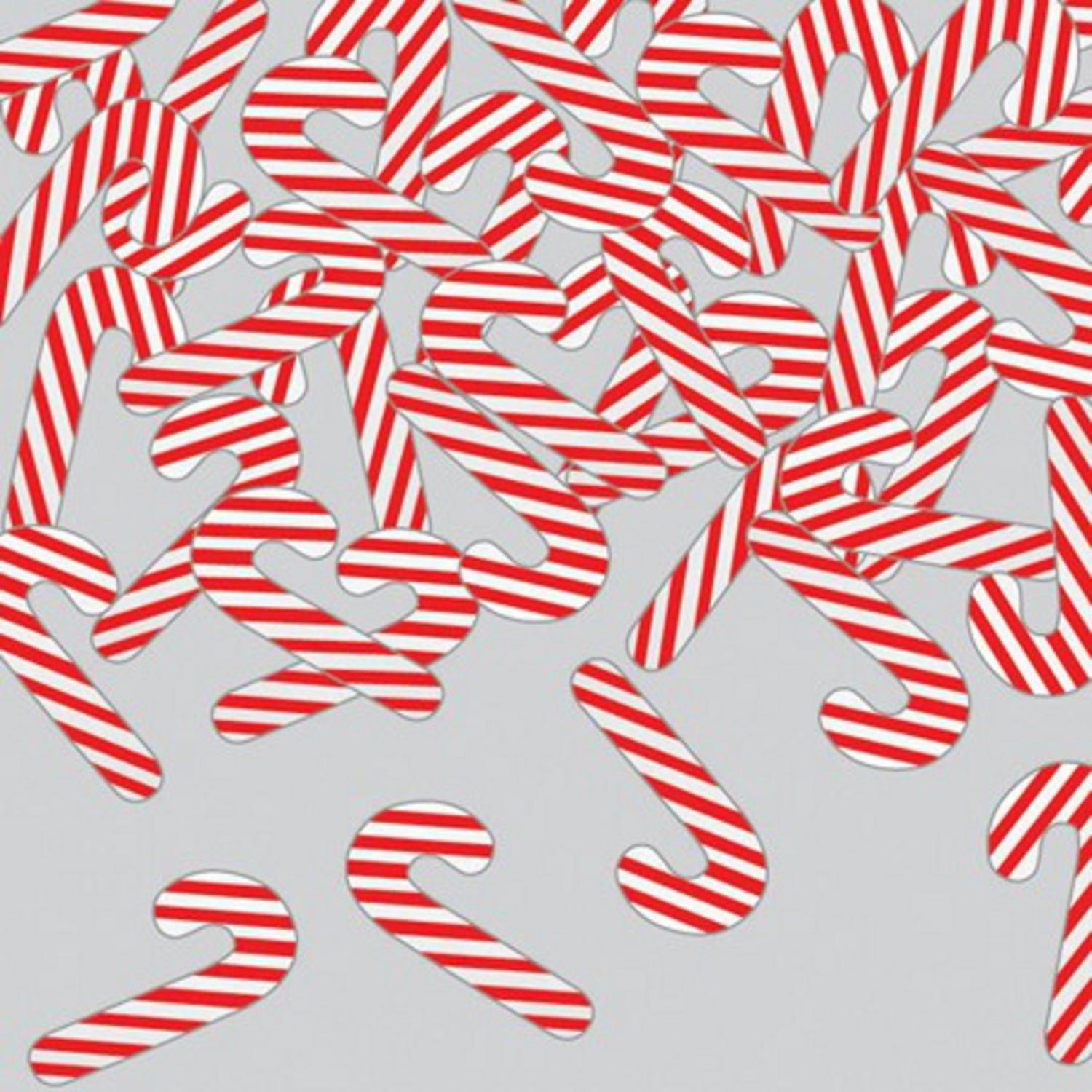 Club Pack of 12 Metallic Red & White Candy Cane Christmas Celebration Confetti Bags 0.5 oz.
