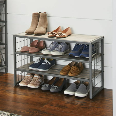 Better Homes & Gardens Decorative Gunmetal Grey Wood and Metal Shoe Rack