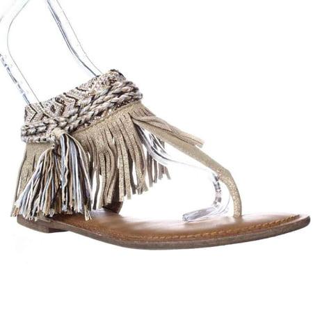 Womens Zigi Soho Francesca Sparkle Fringe Bohemian Flat Sandals   Gold
