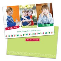 Personalized Whimsical Colored Lights Holiday Card