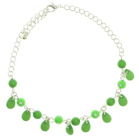 Mi Amore Silver-Tone Ankle Bracelet With Green Spherical Bead And Tear Drop Shaped Charm Accents AN1413A-GREEN
