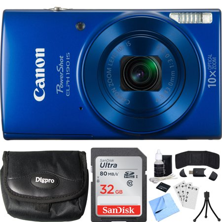 Canon PowerShot ELPH 190 IS Blue Digital Camera 32GB Card Bundle includes Camera, 32GB Memory Card, Reader, Wallet, Case, Battery, Mini Tripod, Screen Protectors, Cleaning Kit and Beach Camera Cloth (Blue And White Canton)