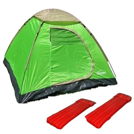 3person dome tent with 2Pcs Nylon single size Air Bed combo (3PT+AMRx2)