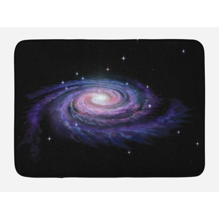 Galaxy Bath Mat, Celestial Dust Votex Spiral Galaxy Nebula Fantasy Spark Plasma Stars Planet Print, Non-Slip Plush Mat Bathroom Kitchen Laundry Room Decor, 29.5 X 17.5 Inches, Black Purple,