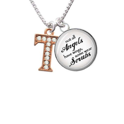 """Crystal Rose Gold Tone Initial - T - Angels Wear Scrubs Glass Dome Necklace, 18""""+2"""""""