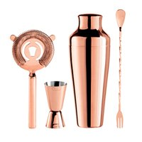 Oggi 4 Piece Stainless Steel Bartender Accessories Set-Includes Stir-Stick, Cocktail Shaker, Double Jigger and Ice... by Oggi