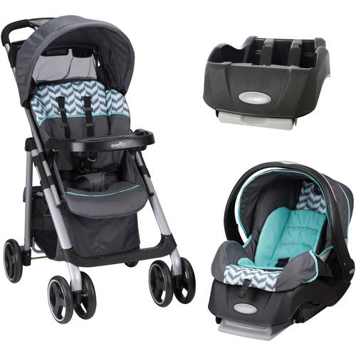 Evenflo Vive Travel System, Spearmint Spree, with BONUS Car Seat Base