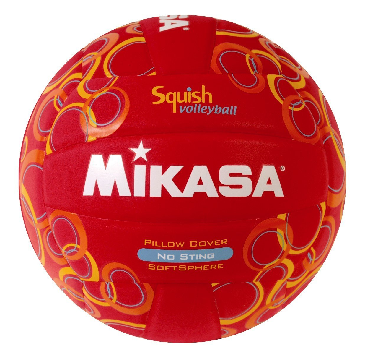 Mikasa Squish VSV104 No-Sting Volleyball (Red/Circles), Volleyball Squish VSV104 NoSting RedCircles Mikasa By Mikasa Sports