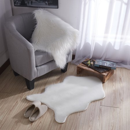 - Ottomanson Flokati Collection Faux Sheepskin Short Pile Shag Area Rug, 2' x 3', Ivory