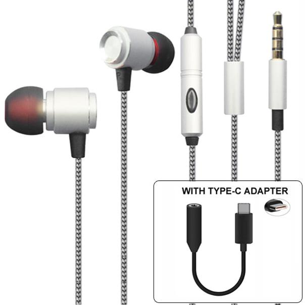 Premium Hi-Fi Sound Hands-free Headset Earphones w Mic TYPE-C Audio Adapter Headphones Jack Metal Sleek Earbuds Silver BE for Motorola Moto Z Droid Force Droid