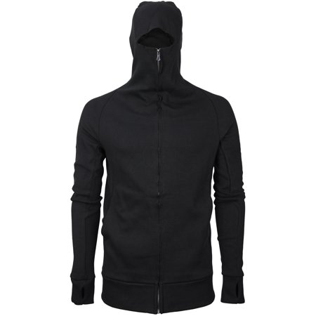 Ninja Zip (vkwear Men's Zip Up Cotton Slim Fit Thumbholes Ninja Turtleneck Hoodie Jacket (Black, S) )