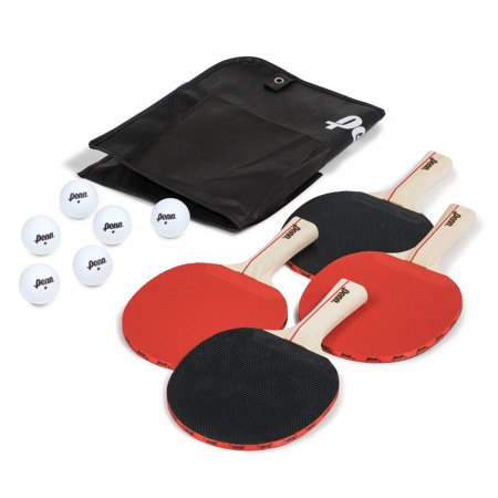 Penn 4 Player Table Tennis Paddle and Ball Set, 4 Paddles & 6