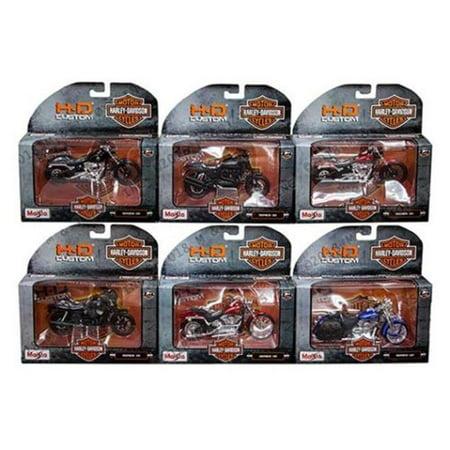 Maisto 1:18 Scale Harley Davidson Diecast Motorcycle Set, 6 Piece Sound Harley Davidson Motorcycle