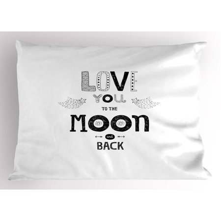 Love Pillow Sham Boho Hipster Sketch Art Style Phrase Stars Arrows Comets Vintage Astronomy Design, Decorative Standard Size Printed Pillowcase, 26 X 20 Inches, Black White, by Ambesonne